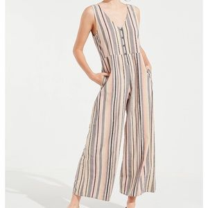 URBAN OUTFITTERS Sage Stripe Button Down Jumpsuit